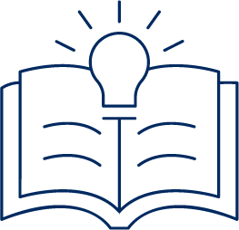 Academy icon, open book with a lightbulb flashing on top