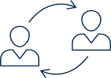 Change management icon, 2 users disposed diagonaly with looping arouns around indicating change
