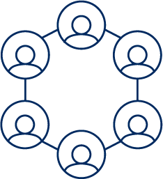 Organization Climate Assessment icon, 6 user icons displayed in a hexagon shape linked with lines