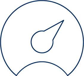 Performance management, tachometer like icon with needle pointing towards maximum value