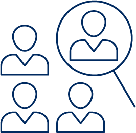 Recruitment and selection icon, 4 user icons whilst one is being highlighted by a magnifying glass