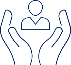 Wellbeing and occupational health icon with two hands reaching a use icon